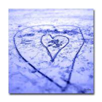 Boniday - Plexiglass photo coeur dans le sable lavande 30 x 30 cm