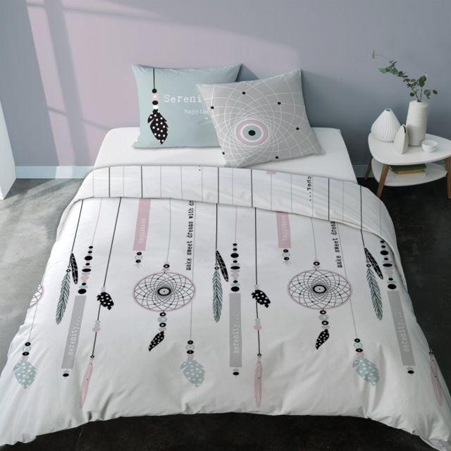 selene et gaia taie d 39 oreiller porte bonheur r versible dessin attrape r ves coton dream. Black Bedroom Furniture Sets. Home Design Ideas