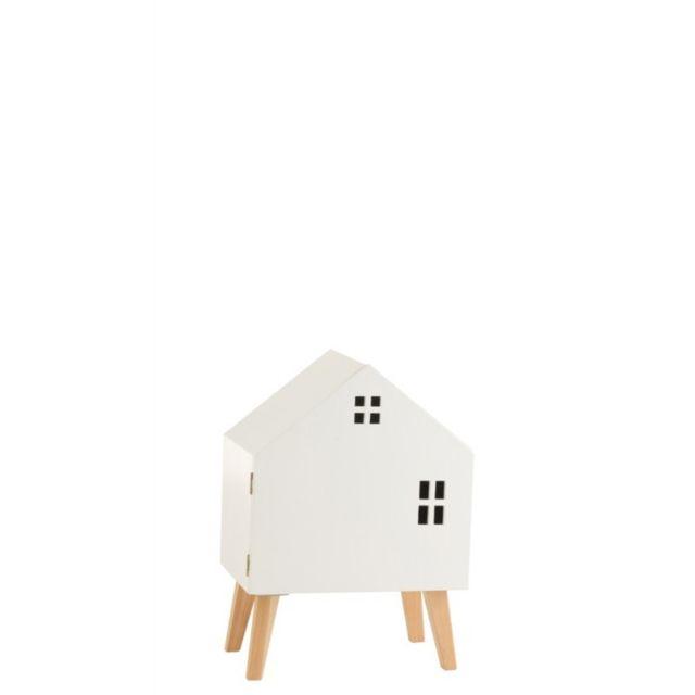 J-line Armoire Maison Sur Pieds Avec Porte Mdf/Bois De Pin Blanc
