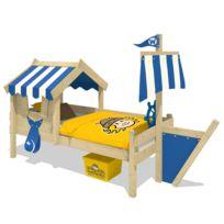 WICKEY - Lit pour enfant en bois CrAzY Finny Lit cabane avec toit 90X200cm