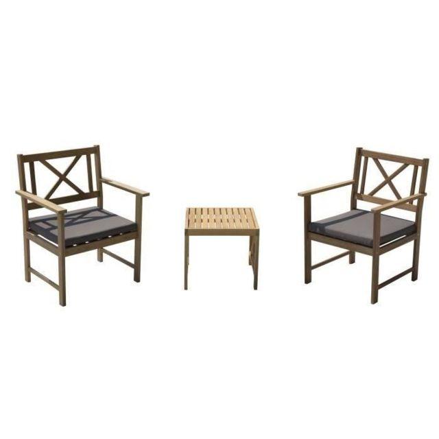 Salon De Jardin - Ensemble Table Chaise Fauteuil De Jardin Salon de jardin  2 places - 1 table et 2 fauteuils - En bois d\'acacia - 80x50x40cm