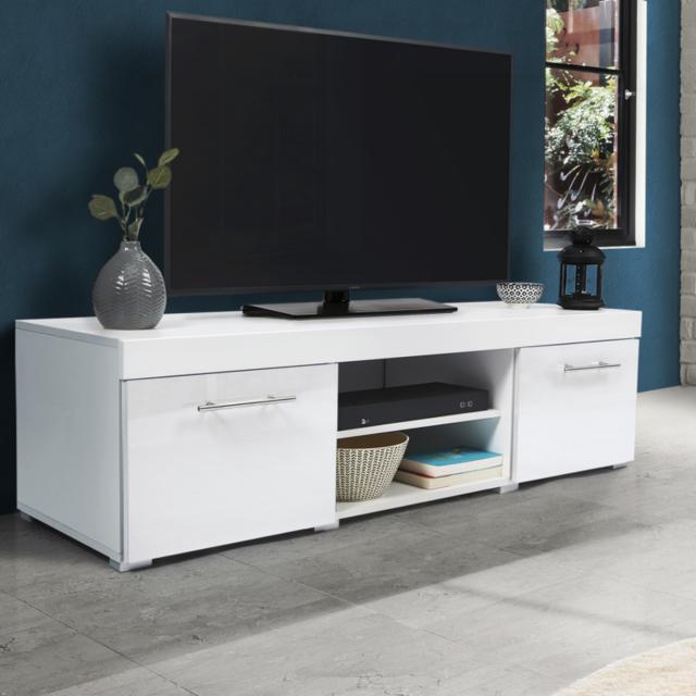 meuble tv contemporain portland bois blanc laque