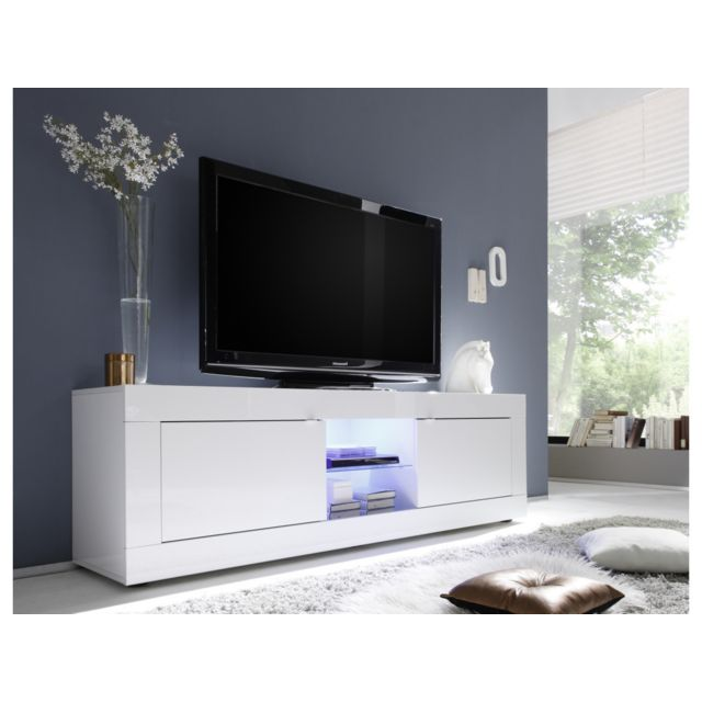 Subleem Meuble Tv grande 2 portes Favara blanc laqué brillant blanc laqué brillant