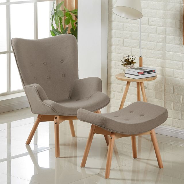 Oneboutic Fauteuil scandinave taupe - Stockholm