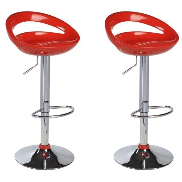 Helloshop26 Lot de 2 Tabourets de bar design plastique Abs dossier rouge 1209032