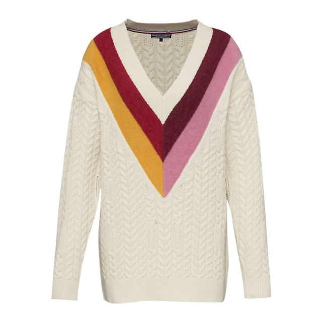 Tommy hilfiger Pull Oversize col V pas cher Achat