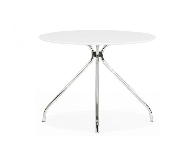 Skedia Table de cuisine ronde blanc mat