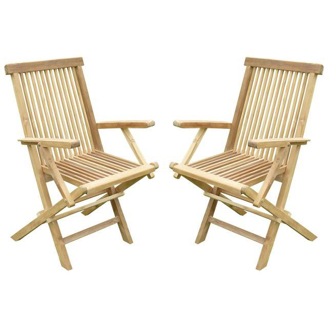 Teck'LINE Lot de 2 fauteuils pliants JenaË Teck Premium