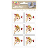 Clairefontaine - 6 embellissements adhésifs en relief 4x4cm - Cupidon