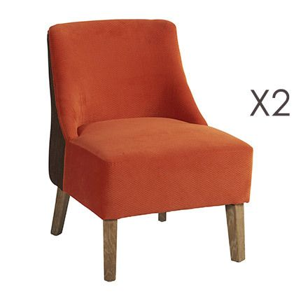 Lot de 2 fauteuils Crawford Orange/Brun 53x54xH72cm