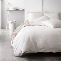 Today - Parure de lit housse de couette + taie + drap housse uni 100% coton 57 fils/cm2 Plain - Ivoire - Ivoire