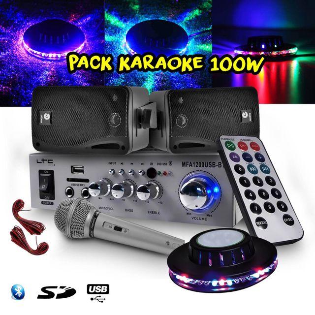 Ltc Audio Karaoke Ampli 100W Usb/BLUETOOTH/SD + 2 Enceintes Hifi + Micro + Jeu de lumière Ovni