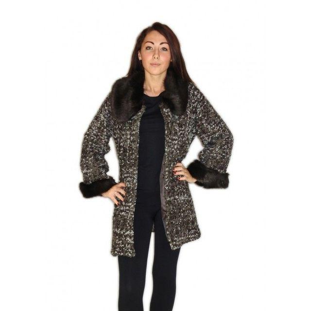 J A - Manteau en laine avec col et manches en fourrure gris foncé  fabrication Italie - pas cher Achat   Vente Manteau femme - RueDuCommerce ac4aeec876e3