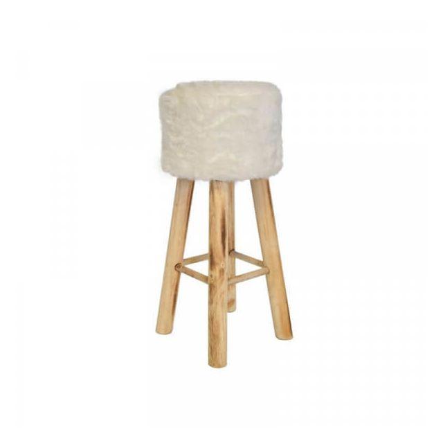 Mathi Design Yeti - Tabouret de bar en bois blanc