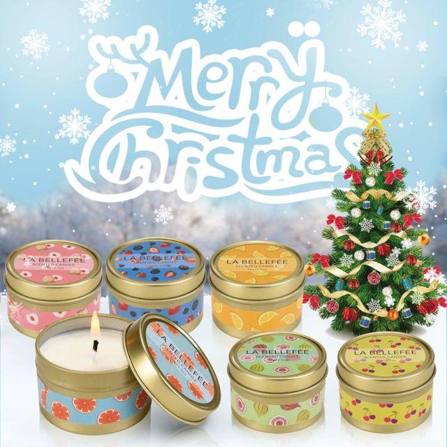 Coffret Bougie Parfumée de Cire de Soja pour l'Aromathérapie, Mariage, Anniversaire, Bain, Yoga Coffret 6 Mini-Pots Boug