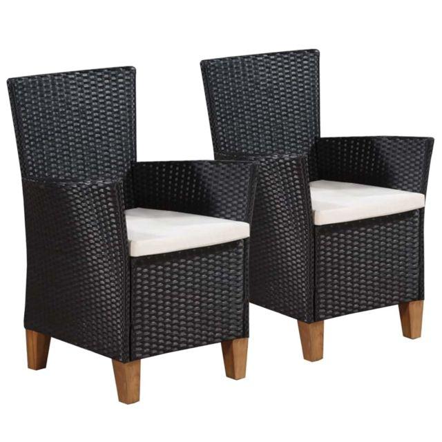 Chaise de salle à manger de jardin 2 pcs Résine tressée Noir Sièges d'extérieur Chaises d'extérieur   Noir   Noir