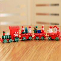 Wewoo - Ornements de noël Décoration table trains en bois enfants maternelle cadeaux rouge