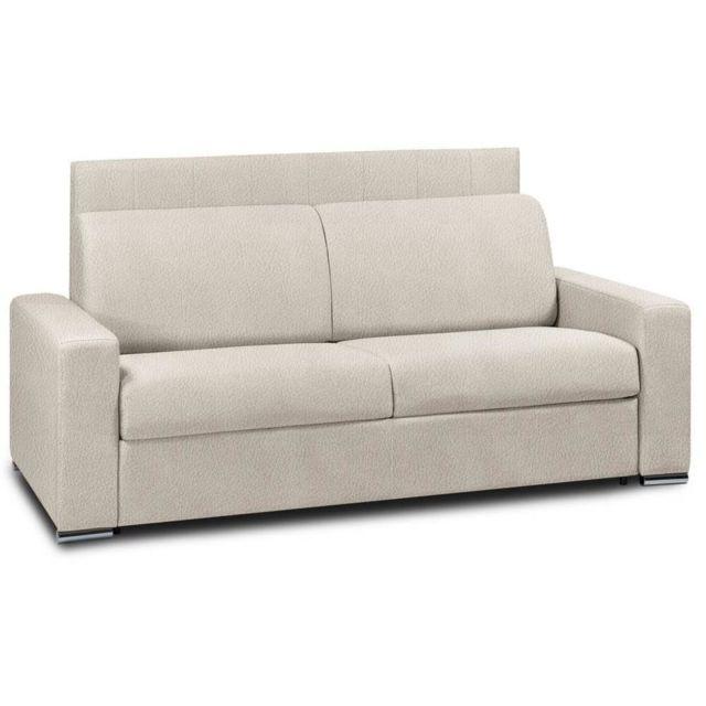 baskets pour pas cher b0eb2 e136c Canapé lit 3 places RAPIDO LATTES RENATONISI 140cm tête de lit intégrée  cuir vachette beige