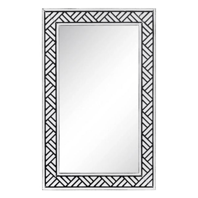Tousmesmeubles Miroir Métal Noir/Blanc - Africa