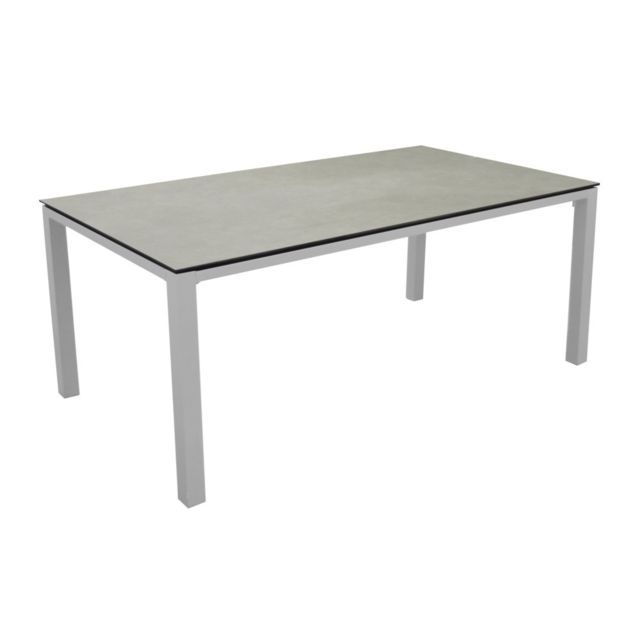 Table de jardin rectangulaire Moderne Stoneo 8 places Blanc/Basalt