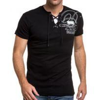 BLZ Jeans - T-shirt noir moulant col lacet