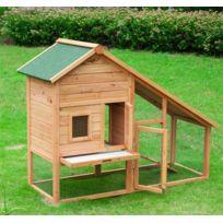 PAWHUT - Cage à lapin en bois de grande taille avec 2 portes zingué 146x63x120cm 40