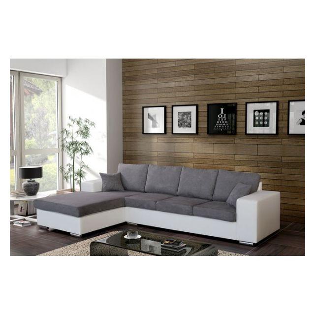 MEUBLESLINE Canapé d'angle 5 places HARMONIA gris et blanc