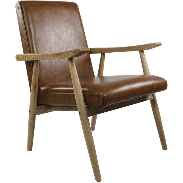 ZAGO Fauteuil vintage aspect cuir Alfred