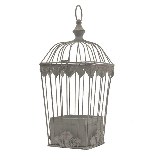 L'ORIGINALE Deco Cage Porte Plante Fleur à Suspendre Fer Blanc 45 cm x 18 cm