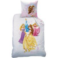 Disney - Housse de couette Princesses Dream Big 140x200 + taie 63x63 enfant 100 % coton