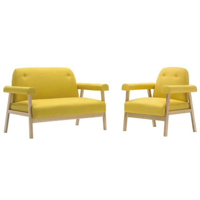Icaverne - Canapés collection Jeu de canapé pour 3 personnes 2 pcs Tissu Jaune
