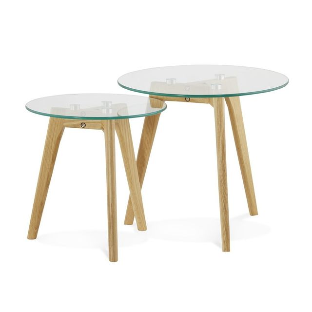 The Concept Factory Tables basses chêne et verre Lena lot de 2