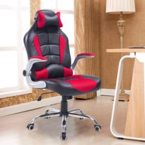 HOMCOM - Fauteuil/chaise de bureau modèle baquet de course grand confort hauteur/inclinaison dossier réglables rouge et noir 23RD