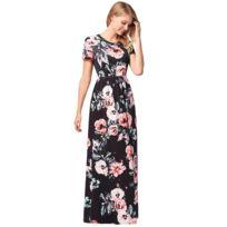a1277a17ec3 Wewoo - Robe Femme noir Dernières Mode Femmes Impression Motif Fleur Manches  Courtes Sexy Jupe Longue