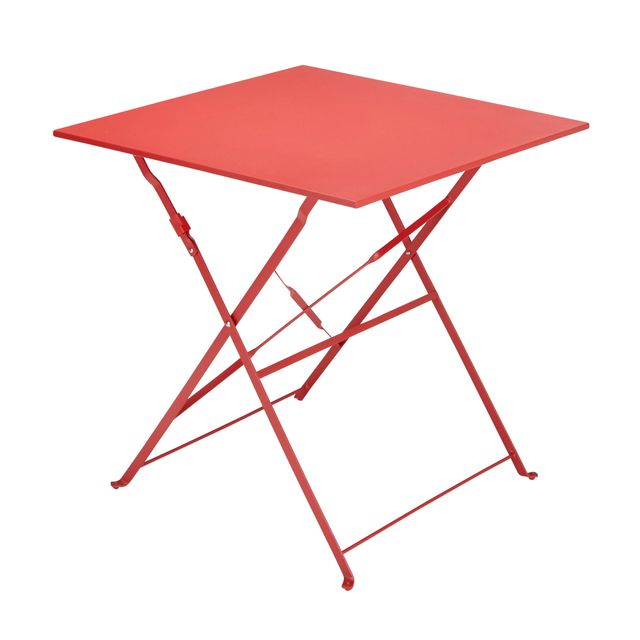 carrefour - balcon - table carrée bistrot pliante rouge - fse104t