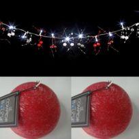 Feerie Lights - Guirlande lumineuse perles rouge et argent et bougies boules rouges
