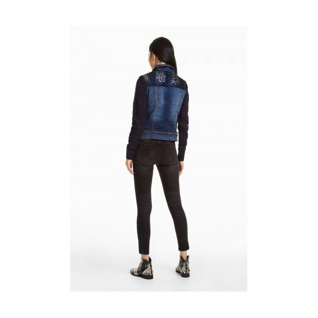 ... Desigual - Veste Courte Femme Emuna Bleu Navy Manche Motif 18WWED25 -  Taille - 38 ... 1af6c6f8b823