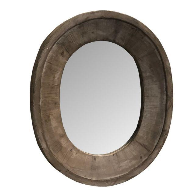 L'ORIGINALE Deco Miroir Oeil de Boeuf Fenêtre Ovale Bois 82 cm x 70 cm