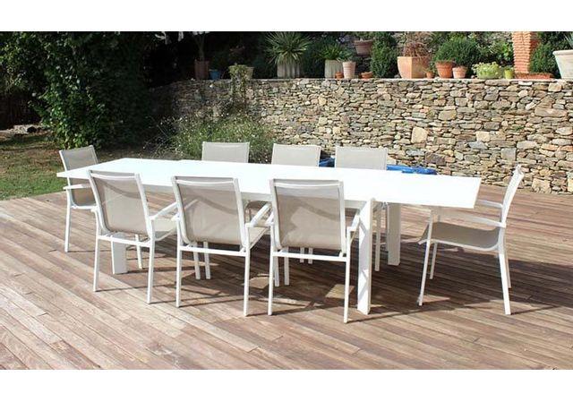 Résidence - Salon Repas Extensible 8 Fauteuils - Capri Blanc - pas ...
