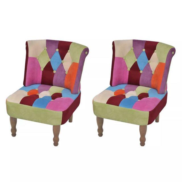 Vidaxl Fauteuil sans accoudoirs avec design de patchwork 2 pcs Tissu | Multicolore