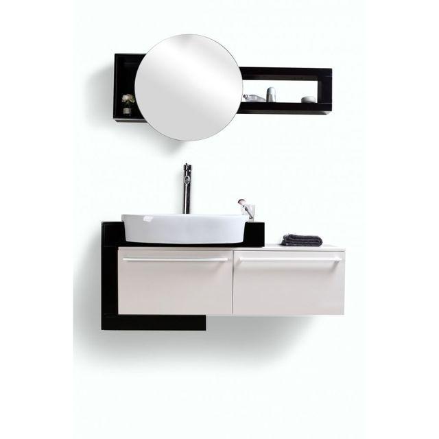 miliboo meuble de salle de bain vasque meuble sous vasque et miroir marlo noir pas cher. Black Bedroom Furniture Sets. Home Design Ideas
