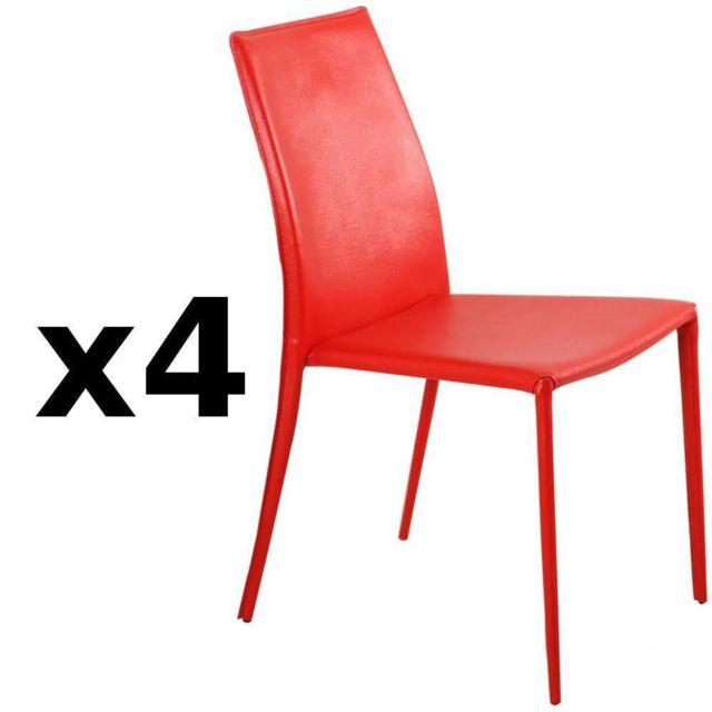 Inside 75 Lot de 4 chaises design Polo en tissu enduit polyuréthane simili façon cuir rouge