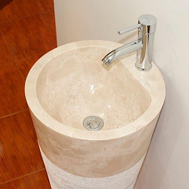 Vasque De Salle De Bains Sur Pied En Marbre Creme Sola Percement Pour Robinet
