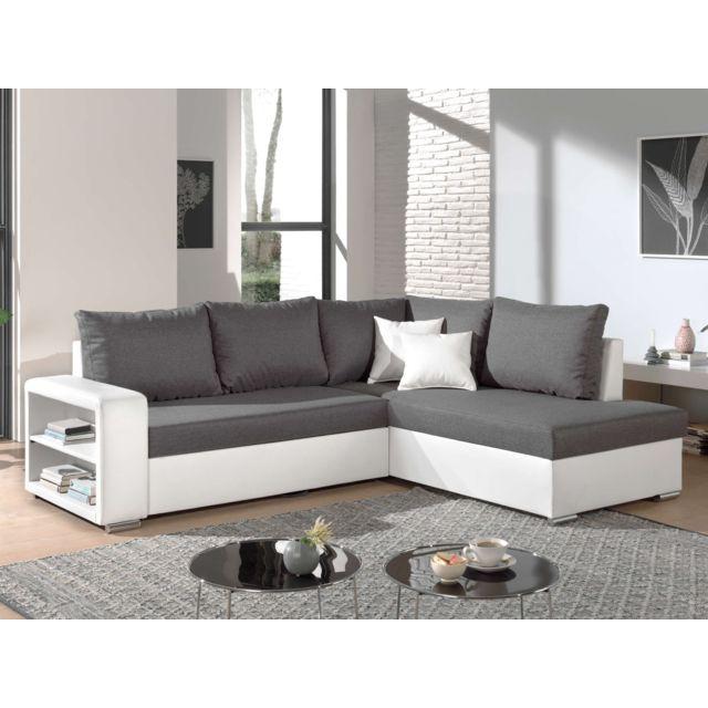 BESTMOBILIER Athena - Canapé d'angle convertible - avec coffre et étagère - en simili et tissu - Droit Couleur - Blanc / Gris