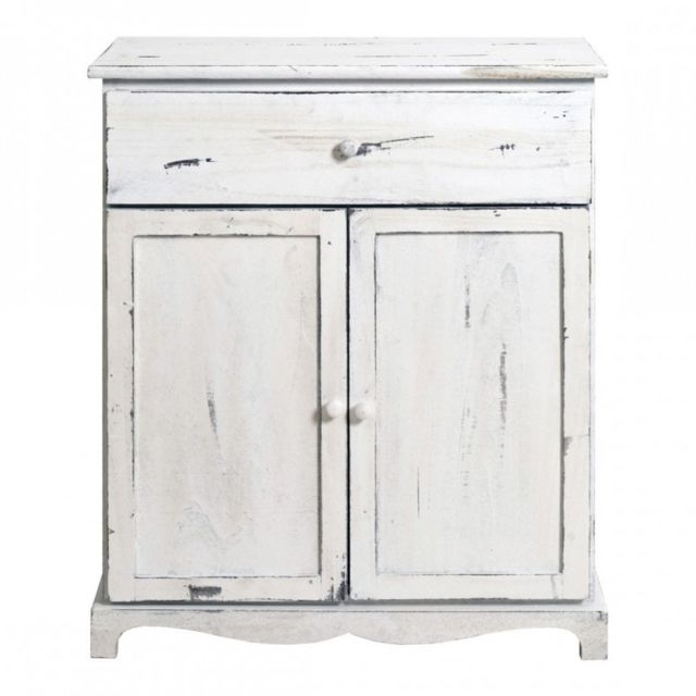 Mobili Rebecca Table de Chevet Commode 2 Portes 1 Tiroir Bois Blanc Vintage Shabby Chic