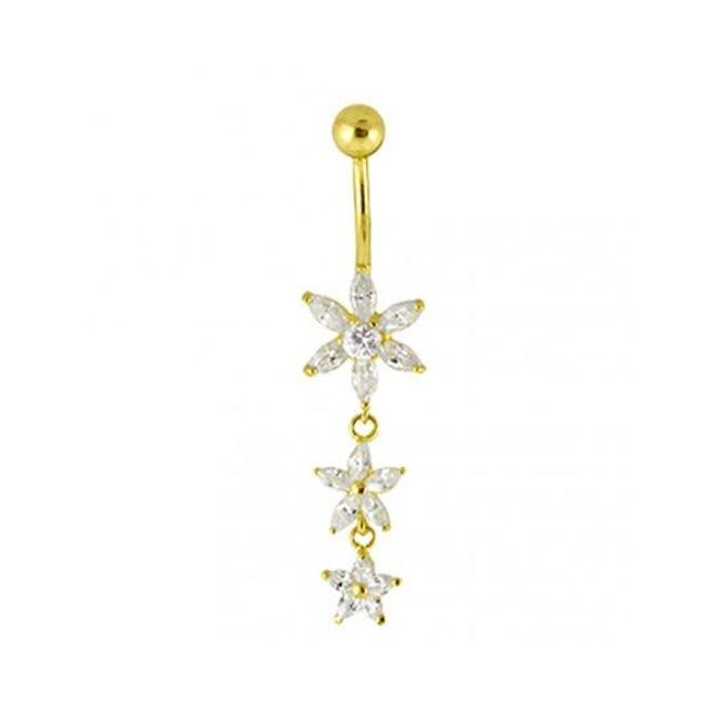 Sans Marque Bijou Piercing Nombril En Or 14 carats Massif 3 Fleurs de Zircon Cubique Cz Pendantes
