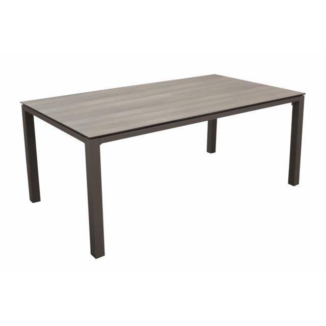 PROLOISIRS Table Stoneo avec un plateau sur mesure Trespa® stratifié compact haute pression, à un solide piétement en aluminium. Di
