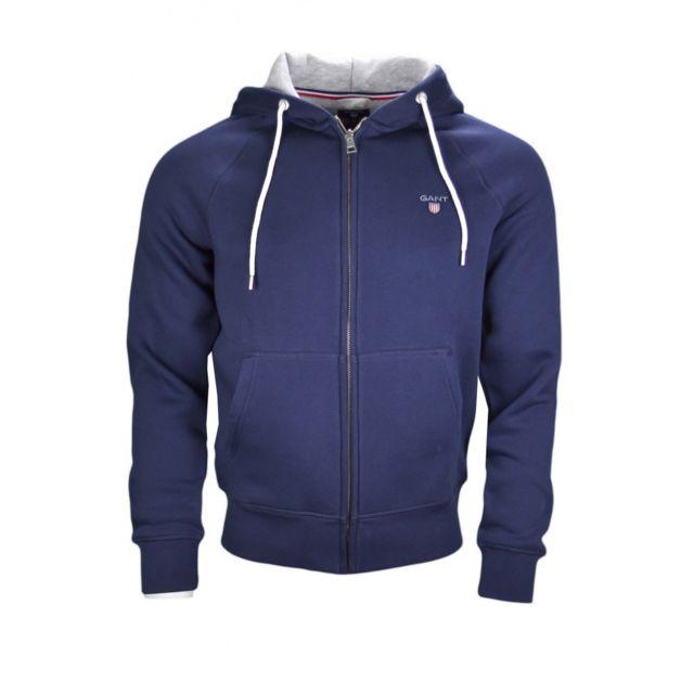 3906f94b9 Sweat à capuche zippé bleu marine pour homme