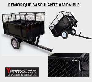 Bigb - Remorque basculante pour Tondeuse / Tracteur de jardin / Quad ...