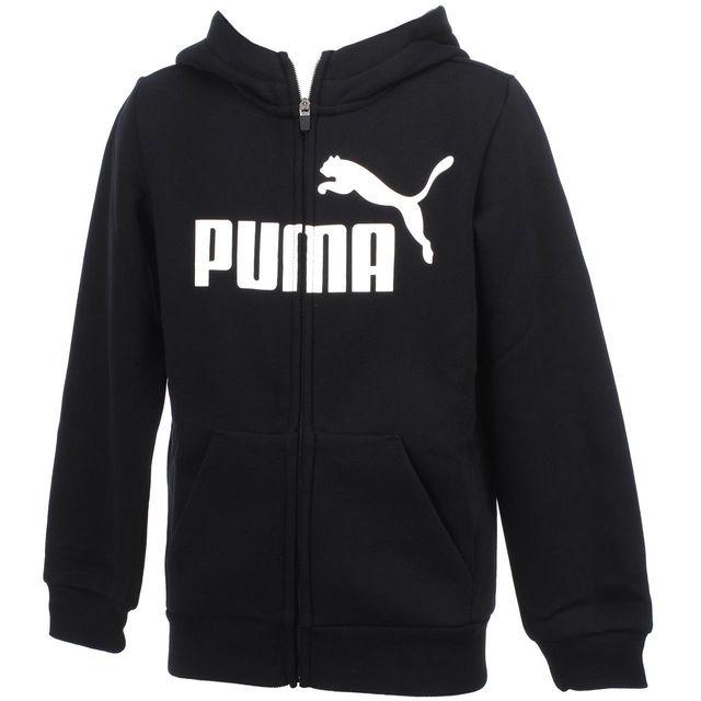 4164a4860b4e5 Puma - Vestes sweats zippés capuche Ess n°1 fzcap sw blk jr Noir 56031 -  pas cher Achat   Vente Doudoune enfant - RueDuCommerce